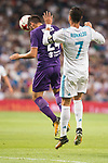 Real Madrid's Cristiano Ronaldo and Fiorentina's Marco Benassi during XXXVIII Santiago Bernabeu Trophy at Santiago Bernabeu Stadium in Madrid, Spain August 23, 2017. (ALTERPHOTOS/Borja B.Hojas)