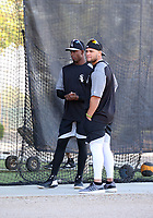 Luis Robert (left) and Yoan Moncada (right) of the Chicago White Sox participates in a pre-season hitting camp at the White Sox training facility at Camelback Ranch on January 17, 2018 in Glendale, Arizona (Bill Mitchell))