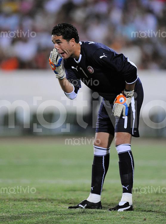 Fussball  Internationl  Testspiel  12.08.2009 Tunesien - Elfenbeinkueste TUN Torwart Kasraoui Hamdi