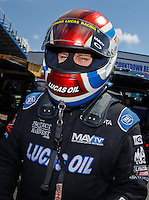 Sep 17, 2016; Concord, NC, USA; NHRA top fuel driver Richie Crampton during qualifying for the Carolina Nationals at zMax Dragway. Mandatory Credit: Mark J. Rebilas-USA TODAY Sports