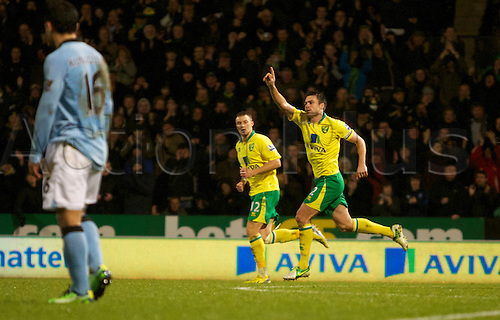 29.12.2012 Norwich, England. Russell Martin celebrates his first goal during the Premier League game between Norwich and Manchester City from Carrow Road.
