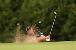 Graeme Storm splashes out of the sand on the 17th during the second round of the ISPS Handa Wales Open 2013 at the Celtic Manor Resort<br /> <br /> 30.08.13<br /> <br /> ©Steve Pope-Sportingwales