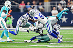 Dallas Cowboys strong safety Barry Church (42), Dallas Cowboys middle linebacker Anthony Hitchens (59), Dallas Cowboys cornerback Morris Claiborne (24) and Miami Dolphins running back Jay Ajayi (23) in action during the pre-season game between the Miami Dolphins and the Dallas Cowboys at the AT & T stadium in Arlington, Texas.