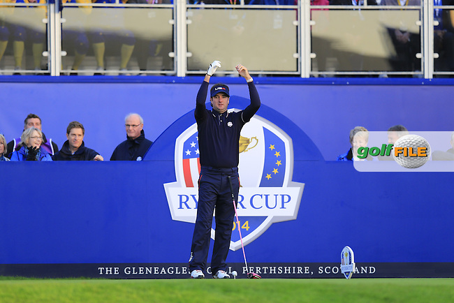 Bubba Watson (USA) prepares to tee off the 1st tee to start Saturday Mornings Fourball Matches of the Ryder Cup 2014 played on the PGA Centenary Course at the Gleneagles Hotel, Auchterarder, Scotland.: Picture Eoin Clarke, www.golffile.ie: 27th September 2014