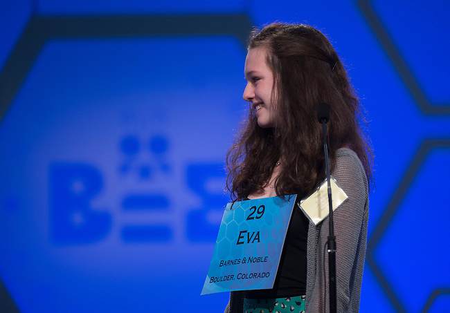 Speller No. 029, Eva Kitlen, 14, eighth grader at Sunset Middle School, Longmont, Colorado, competes in the semifinal rounds of the Scripps National Spelling Bee at the Gaylord National Resort and Convention Center in National Habor, Md., on Thursday, May 30, 2013. Photo by Bill Clark