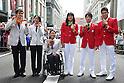(L-R)<br /> Keiichi Kimura, <br /> Sae Tsuji, <br /> Yui Kamiji, <br /> Kaori Icho,<br /> Kohei Uchimura, <br /> Kosuke Hagino (JPN), <br /> OCTOBER 7, 2016 :<br /> Japanese medalists of Rio 2016 Olympic and Paralympic Games wave to spectators during a parade from Ginza to Nihonbashi, Tokyo, Japan.<br /> (Photo by Shingo Ito/AFLO)