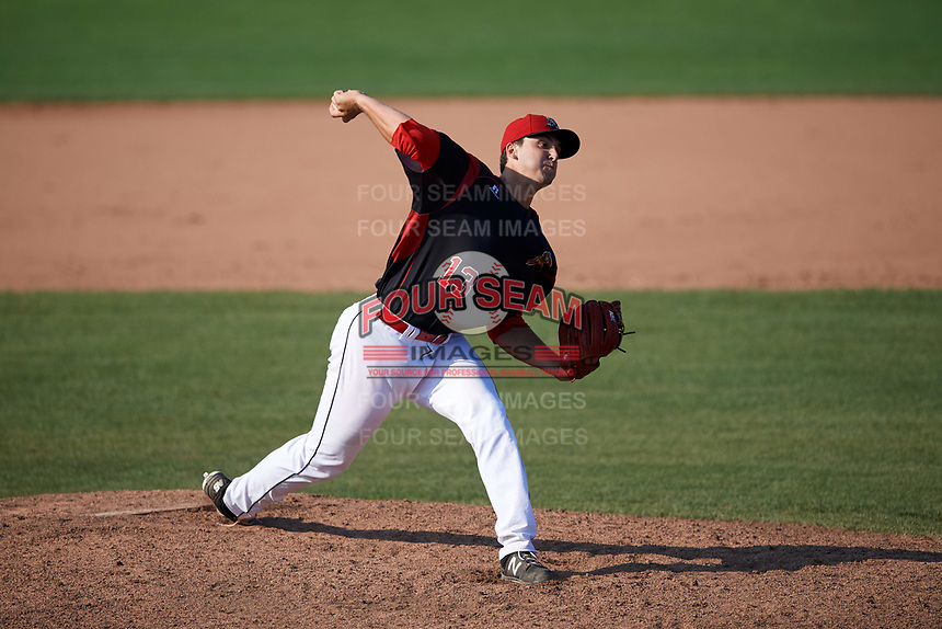Batavia Muckdogs relief pitcher Colton Hock (13) delivers a pitch during the second game of a doubleheader against the Williamsport Crosscutters on August 20, 2017 at Dwyer Stadium in Batavia, New York.  Batavia defeated Williamsport 4-3.  (Mike Janes/Four Seam Images)