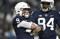 STATE COLLEGE, PA - NOVEMBER 24: Penn State QB Trace McSorley (9) crosses his arms to celebrate with WR Juwan Johnson (84) after his second rushing touchdown fo the first half during the Maryland Terrapins vs. the Penn State Nittany Lions November 24, 2018 at Beaver Stadium in State College, PA. (Photo by Randy Litzinger/Icon Sportswire)