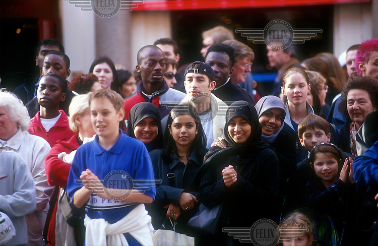© Chris Tordai / Panos Pictures..London. Multiracial crowd in Leicester Square.