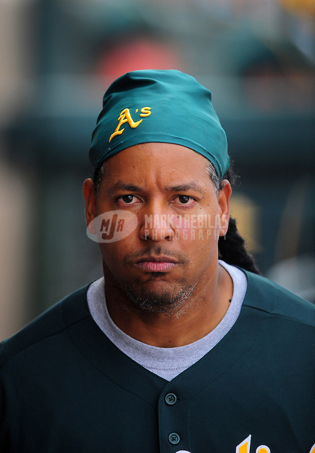 Mar. 4, 2012; Phoenix, AZ, USA; Oakland Athletics designated hitter Manny Ramirez against the Los Angeles Angels during a spring training game at Phoenix Municipal Stadium.  Mandatory Credit: Mark J. Rebilas-