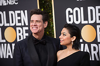 Nominee Jim Carrey attend and Ginger Gonzaga attend the 76th Annual Golden Globe Awards at the Beverly Hilton in Beverly Hills, CA on Sunday, January 6, 2019.<br /> *Editorial Use Only*<br /> CAP/PLF/HFPA<br /> Image supplied by Capital Pictures