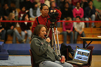 17 February 2006: Leah Tapscott broadcasts during a internet webcast during Stanford's win over the University of Arizona at Burnham Pavilion in Stanford, CA.