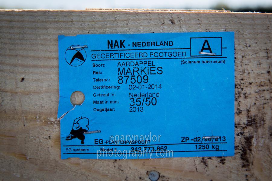 Potato seed identification label - plant passport