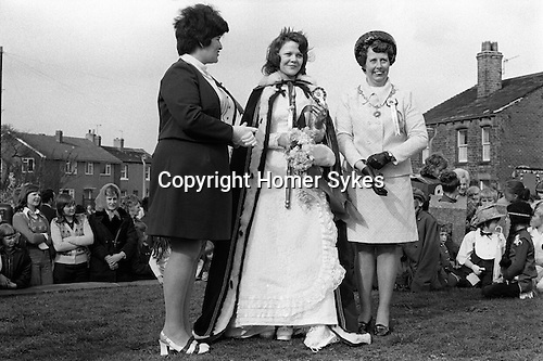 May Queen, 17 year old  Susan White, and mother, Gawthorpe May Queen Yorkshire 1974.  The Whites are long time residents of the village.<br /> <br /> My ref 7/823/1974.