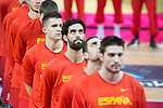 Spain Victor Arteaga, Pablo Aguilar, Javier Beiran, Xavi Rabaseda and Fran Vazquez during Spain's anthem European Qualifiers to China 2019 World Cup match between Spain and Montenegro at Principe Felipe Stadium in Zaragoza , Spain. February 22, 2018. (ALTERPHOTOS/Borja B.Hojas)