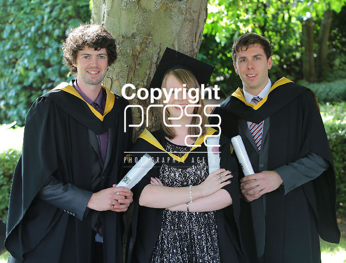 With compliments.   Attending the University of Limerick conferrings were from left Declan Dooley, Tullamore, Co. Offaly, Emma Hanley, Hollyford, Tipperary and Jake Bracken, Tullamore, Co. Offaly all conferred with BSc Energy. Picture Liam Burke/Press 22