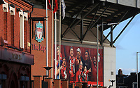 27th October 2019; Anfield, Liverpool, Merseyside, England; English Premier League Football, Liverpool versus Tottenham Hotspur; a view of a giant mural above the entrance to the Kop prior to the match - Strictly Editorial Use Only. No use with unauthorized audio, video, data, fixture lists, club/league logos or 'live' services. Online in-match use limited to 120 images, no video emulation. No use in betting, games or single club/league/player publications