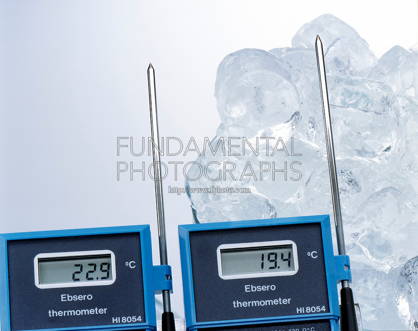 ENDOTHERMIC PROCESS: ICE &amp; SURROUNDING AIR<br /> (Variations Available)<br /> Measured by Digital Thermometers (22.9C &amp; 19.4C)<br /> Heat passes from the surrounding air into the ice block. The thermometer reading  decreases closer to the ice indicating that heat is being used to melt the ice. After the ice is melted heat will equalize the surrounding temperatures.