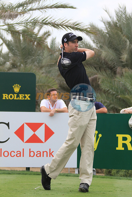Ross Fisher teeing off on the 9th tee on day one of the Abu Dhabi HSBC Golf Championship 2011, at the Abu Dhabi golf club, UAE. 20/1/11..Picture Fran Caffrey/www.golffile.ie.