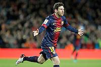 ATENCAO EDITOR IMAGEM EMBARGADA PARA VEICULOS INTERNACIONAIS - BARCELONA, ESPANHA, 16 DEZEMBRO 2012 - Lionel Messi jogador do Barcelona comemora seu gol durante partida contra o Atletico de Madrid pela 16 Rodada do Campeonato Espanhol no Camp Nou em Barcelona capital da Catalunha na Espanha. (FOTO: ALFAQUI / BRAZIL PHOTO PRESS).