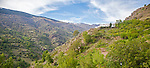 View of Poqueira gorge and Sierra Nevada mountains, High Alpujarras, Sierra Nevada, Granada province, Spain