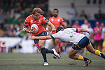 Taikoo Place Scottish Exiles (in orange) vs King's College at UQ (in white) during GFI HKFC Rugby Tens 2016 on 07 April 2016 at Hong Kong Football Club in Hong Kong, China. Photo by Marcio Machado / Power Sport Images