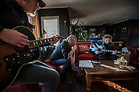 Switzerland. Canton Ticino. Cagiallo. Left to right: the Gotthard musicians  Freddy Scherer (L), Nic Maeder (C) and Leo Leoni (L) with a guitar Gibson Super Jumbo, SJ-200. Musical rehearsal at Leo Leoni's home. Gotthard is a Swiss hard rock band founded in Lugano by Steve Lee and Leo Leoni. Their last eleven albums have all reached number 1 in the Swiss album charts, making them one of the most successful Swiss acts ever. With 2 million albums sold, they managed to get multi-platinum awards in different parts of the world. Cagiallo is a village and and is part of the Capriasca municipality. 25.03.2019 © 2019 Didier Ruef