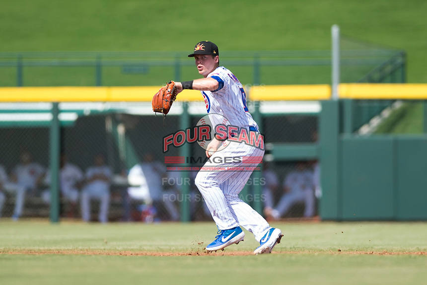 Mesa Solar Sox shortstop Nico Hoerner (17), of the Chicago Cubs organization, throws to first base during an Arizona Fall League game against the Peoria Javelinas at Sloan Park on October 11, 2018 in Mesa, Arizona. Mesa defeated Peoria 10-9. (Zachary Lucy/Four Seam Images)