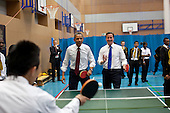 President Barack Obama and British Prime Minister David Cameron play table tennis with students at Globe Academy in London, England, May 24, 2011. .Mandatory Credit: Pete Souza - White House via CNP