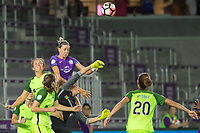 Orlando, FL - Thursday September 07, 2017: Alanna Kennedy, Lydia Williams during a regular season National Women's Soccer League (NWSL) match between the Orlando Pride and the Seattle Reign FC at Orlando City Stadium.