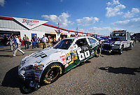 Oct 3, 2008; Talladega, AL, USA; The car of NASCAR Sprint Cup Series driver Dale Earnhardt Jr is towed into the garage after crashing during practice for the Amp Energy 500 at the Talladega Superspeedway. Mandatory Credit: Mark J. Rebilas-