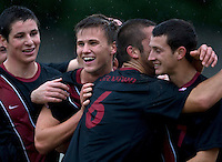 Berkeley, CA - November 11th, 2011: Zach Batteer celebrates after scoring a goal during a soccer game against California.  Stanford won, 3-0.