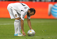 CARSON, CA - DECEMBER 01, 2012:   Landon Donovan (10) of the Los Angeles Galaxy prepares to take a penalty kich against the Houston Dynamo during the 2012 MLS Cup at the Home Depot Center, in Carson, California on December 01, 2012. The Galaxy won 3-1.