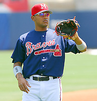 22 April 2007: Diory Hernandez of the Mississippi Braves, the Atlanta Braves' Class AA affiliate of the Southern League, in a game against the Birmingham Barons at Trustmark Park in Pearl, Miss. Photo by:  Tom Priddy/Four Seam Images
