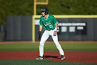 Shane Hanon (27) of the Marshall Thundering Herd takes his lead off of second base against the Charlotte 49ers at Hayes Stadium on March 22, 2019 in Charlotte, North Carolina. The Thundering Herd defeated the 49ers 12-6. (Brian Westerholt/Four Seam Images)