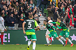 10.02.2019, Weser Stadion, Bremen, GER, 1.FBL, Werder Bremen vs FC Augsburg, <br /> <br /> DFL REGULATIONS PROHIBIT ANY USE OF PHOTOGRAPHS AS IMAGE SEQUENCES AND/OR QUASI-VIDEO.<br /> <br />  im Bild<br /> <br /> jubel 3:0 Milot Rashica (Werder Bremen #11) mit Maximilian Eggestein (Werder Bremen #35)<br /> Max Kruse (Werder Bremen #10)<br /> Davy Klaassen (Werder Bremen #30)<br /> <br /> <br /> Foto © nordphoto / Kokenge