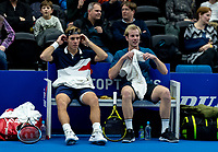 Alphen aan den Rijn, Netherlands, December 16, 2018, Tennispark Nieuwe Sloot, Ned. Loterij NK Tennis, Men's doubles final: Scott Griekspoor (NED) (L) and Botic van de Zandschulp (NED)<br /> Photo: Tennisimages/Henk Koster