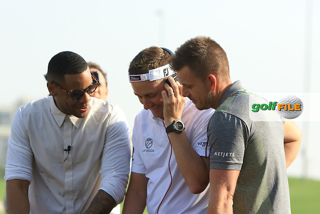 DJ Reggie Yates with Ian Poulter (ENG) and Henrik Stenson (SWE) during the &quot;Official Tournament Launch&quot;  on Tuesday Practice Day of the Abu Dhabi HSBC Championship on the 17th January 2017.<br /> Picture:  Thos Caffrey / Golffile<br /> <br /> All photo usage must carry mandatory copyright credit     (&copy; Golffile | Thos Caffrey)