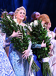 Caissie Levy and Patti Murin during the Broadway Musical Opening Night Curtain Call for 'Frozen' at the St. James Theatre on March 22, 2018 in New York City.