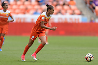 Houston, TX - Saturday April 15, 2017: Poliana brings the ball up the field  during a regular season National Women's Soccer League (NWSL) match between the Houston Dash and the Chicago Red Stars at BBVA Compass Stadium.