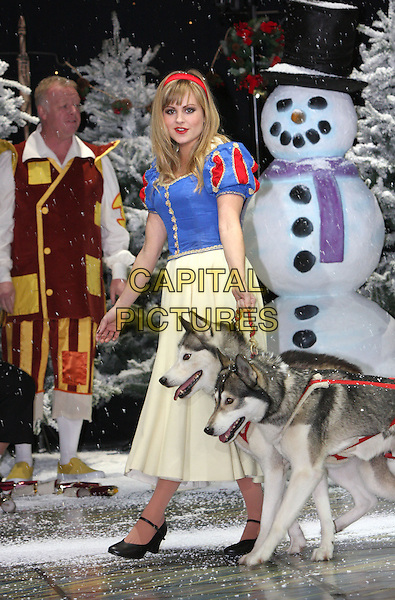 TINA O'BRIEN .First Family Entertainment 2011 Pantomimes Photocall at the Piccadilly Theatre, London, November 26th 2010..panto costume full length snow white dress husky dogs walking .CAP/JIL.©Jill Mayhew/Capital Pictures