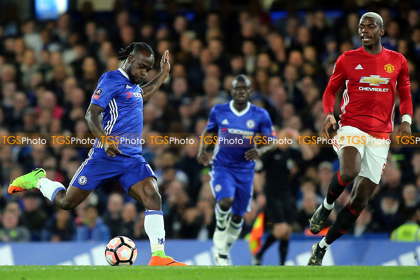 Victor Moses of Chelsea kicks the ball upfield during Chelsea vs Manchester United, Emirates FA Cup Football at Stamford Bridge on 13th March 2017