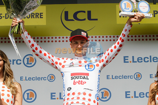 Tim Wellens (BEL) Lotto-Soudal retains the mountains Polka Dot Jersey at the end of Stage 12 of the 2019 Tour de France running 209.5km from Toulouse to Bagneres-de-Bigorre, France. 18th July 2019.<br /> Picture: ASO/Colin Flockton | Cyclefile<br /> All photos usage must carry mandatory copyright credit (© Cyclefile | Colin Flockton)