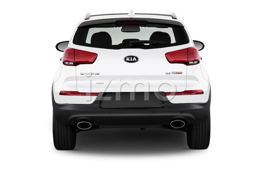 Straight rear view of 2016 KIA Sportage SX 5 Door Suv Rear View  stock images