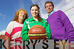 Courtney Ryan who got a place in the Irish U-16 Irish Basketball team, from left: Carmelita Ryan, Courtney Ryan and Denis Ryan Mounthawk Tralee