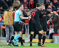 11th March 2020; Anfield, Liverpool, Merseyside, England; UEFA Champions League, Liverpool versus Atletico Madrid; Marcos Llorente of Atletico Madrid celebrates his 105th minute goal which gave his team  2-3 aggregate lead with team mates Alvaro Morata