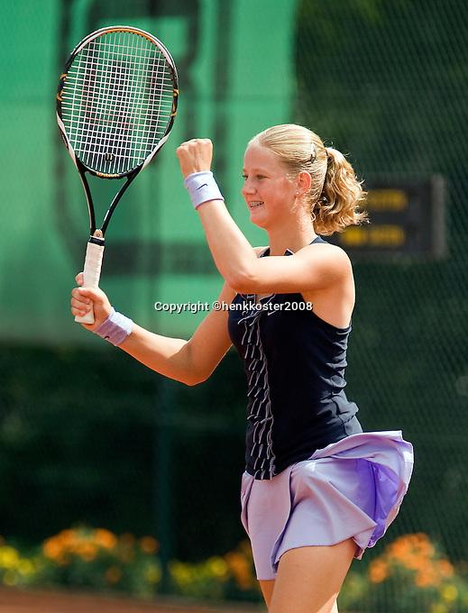 10-8-08, Eten Leur, NJK Tennis, Kampioene meisjes 16 jaar, Sabine van der Sar juicht