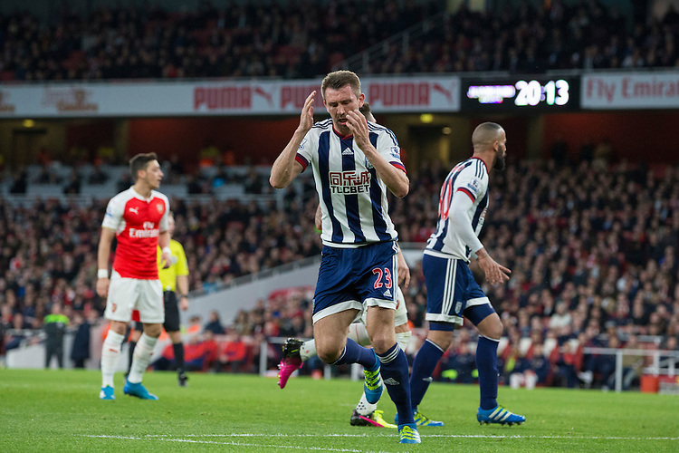 West Bromwich Albion's Gareth McAuley reacts to a missed chance<br /> <br /> Photographer Craig Mercer/CameraSport<br /> <br /> Football - Barclays Premiership - Arsenal v West Bromwich Albion - Thursday 21st April 2016 - Emirates Stadium - London<br /> <br /> &copy; CameraSport - 43 Linden Ave. Countesthorpe. Leicester. England. LE8 5PG - Tel: +44 (0) 116 277 4147 - admin@camerasport.com - www.camerasport.com