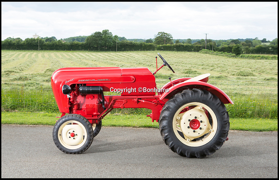 BNPS.co.uk (01202 558833)<br /> Pic: Bonhams/BNPS<br /> <br /> Fancy a classic Porsche...tractor.<br /> <br /> One of the most stylish tractors of all time which was built by iconic sports car manufacturer Porsche has emerged. <br /> <br /> Porsche is celebrated for its racy 911 and Boxster models but few know about the German marque's dip into the agricultural market around 60 years ago. <br /> <br /> This rare survivor is a Junior L108 dating to 1961, which is set to fetch £45,000 when it goes under the hammer with Bonhams auctioneer next month. <br /> <br /> The L108 was conceived by pioneering engineer Ferdinand Porsche, founder of the marque, shortly before his death in 1951.