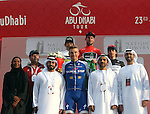 The podium at the end of Stage 2 the Nation Towers Stage of the 2017 Abu Dhabi Tour, running 153km around the city of Abu Dhabi, Abu Dhabi. 24th February 2017<br />